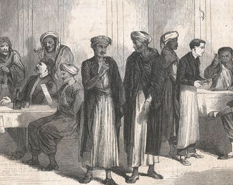 Interior of the Pension of Workers and Employees of the Egyptian Quarter, Egypt 1867 - Old Antique Vintage Engraving Art Print