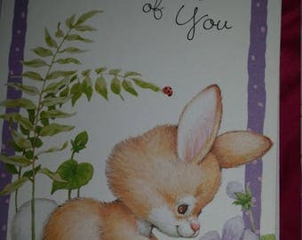 Vintage Greeting Card - Morehead Current  Springs Whimsy Greeting Card - Rabbit and Purple Violets