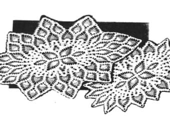 PDF Crochet Pattern, 3 Matching oval doilies ,in the Pineapple Pattern