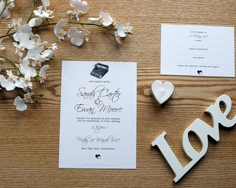 Black and White Typewriter Personalised Wedding Invite & RSVP Card Set with Envelopes