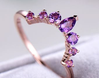 Purple Amethyst Wedding Band 925 Sterling Silver Rose Gold Unique Stacking Ring Engagement Bridal Matching Band Women Promise Anniversary