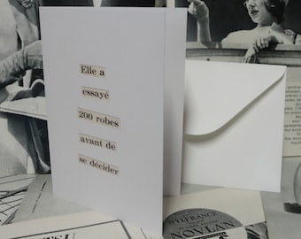 She tried 200 dresses - French Press Collage - Greeting Card