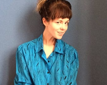 80s silk zigzag print blouse! On sale!superpea Christmas sale