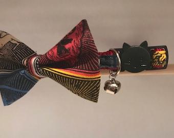 "Game of Thrones Cat Collar with Bow Tie - ""Seven Kingdoms"" - Breakaway Cat Collar / Kitten Collar / Dog Bow Tie"