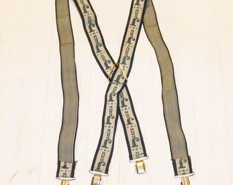 Vintage suspenders,  Vintage suspenders of 1965, old  Vintage suspenders