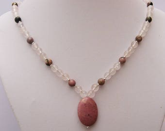 Necklace rhodonite and rose quartz - gemstones