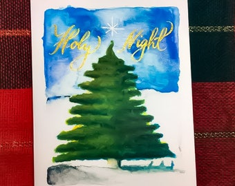 Handmade watercolor calligraphy Christmas greeting card