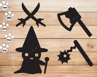 Halloween Ghost svg Files,  knife svg, Axe svg, Meteor hammer Clipart, cricut, cameo, silhouette cut files commercial use