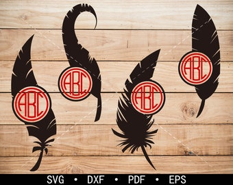 Feather svg Files, Feather Monogram Frame, Workout Clipart, cricut, cameo, silhouette cut files commercial & personal use