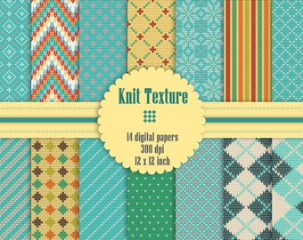 14 Knit Texture Digital Papers in 12 inch, High Resolution 300 Dpi, Instant Download, Pattern Paper, Knitted Paper, Sweater Paper