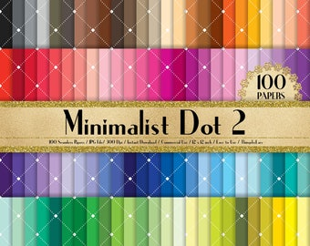 """100 Seamless White Minimalist Dot Papers in 12"""" x 12"""", 300 Dpi Planner Paper, 100 Digital Paper,Rainbow Paper, Dot Papers, Minimalist Paper"""
