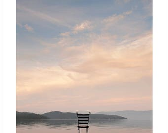 peaceful clouds, chair, Flathead Lake, Montana solitude
