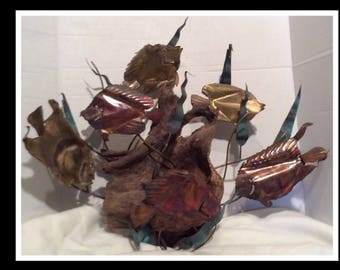 Driftwood Metal Fish Marine Life Sculpture