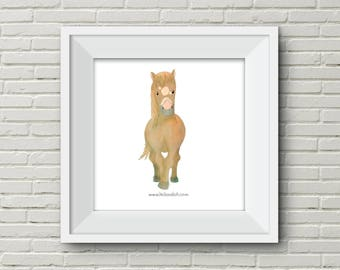 Downloadable Wall Art Modern Prints Animal Printable Nursery Art Print fox squirrel horse turtle brown orange cream illustration cute