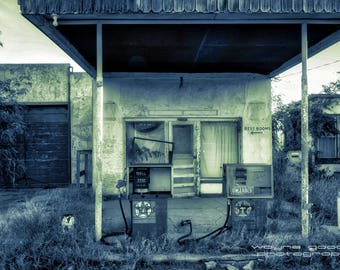 Abandoned Gas Station Valentine Texas, Landscape Photography, Home Decor, Wall Art, Gift, Marfa