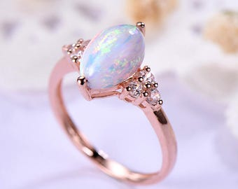 Opal Engagement Ring 14k 18k Rose Gold 925 Sterling Silver Marquise Cut Cluster CZ Diamond Women Wedding Anniversary Gift Promise Bridal Set