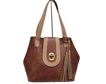 ANIMAL PRINT HANDBAG-Women leather bag
