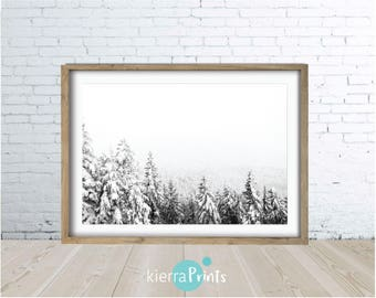Snow Covered Tree Print, Winter, Black and White, Photography, Poster, Nature, Wall Art, Home Decor, Interior Design, Monochrome, Trending