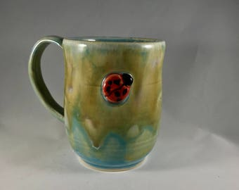 10 oz Handmade Ladybug Mug, Clay Mug, Stoneware Mug, Handmade Mug, Pottery Coffee Mug, Handmade Coffee Mug, Coffee Cup, Stoneware Coffee Cup