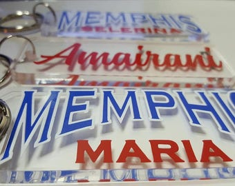 Memphis Custom and Personalized Key Ring