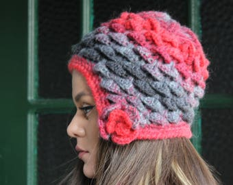 Hand knitted Pure Wool Winter Women Ladies Hat , Chunky Knit Hat, Cloche Knit , Made with Wooden Needle - Pure Merino Wool , ONE-OF-A-KIND