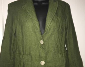 Green Blazer With Brown Albow Patches