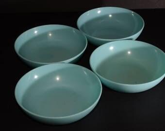 Vintage, Gencraft, MELMAC, turquoise blue, Set of 4, Cereal, Bowls, Mid century, Hard Plastic, Melamine, Melmac Dinnerware, Camping, Canada