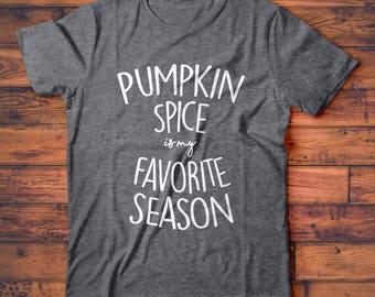 Pumpkin Spice is my Favorite Season T-Shirt, Cute Starbucks Fall Halloween Tee Shirt for Coffee Lover