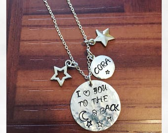 Moon And Back Hand Stamped Necklace| Handstamped Love You To The Moon And Back Mommy Moon Star Hammered Necklace | Multi Genaration Necklace