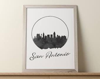 San Antonio Print, San Antonio Wall Art, Texas Art, San Antonio Skyline Cityscape, San Antonio Wall Decor, Watercolor Art, Office Decor