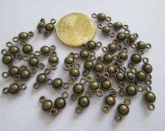 20 petit connecteur bille en métal couleur bronze 10 x 5 mm