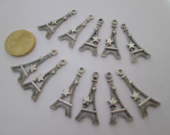 11 breloque tour eiffel en métal argenté 30 X 14 mm