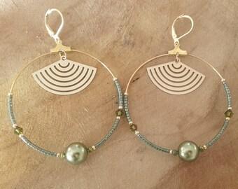 "Handmade khaki ""LINA"" brass hoop earring"