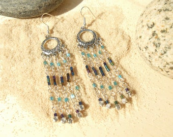 Long earrings turquoise and Navy blue sea