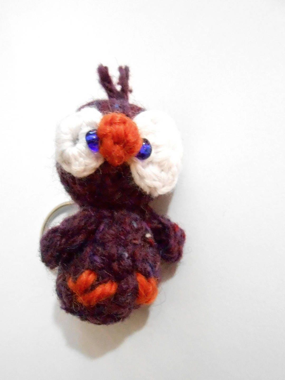 Oiseau violet petit porte clefs laine otis - Clef a laine ...