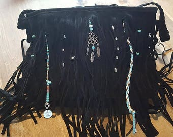 Bohemian bag with fringes and turquoise