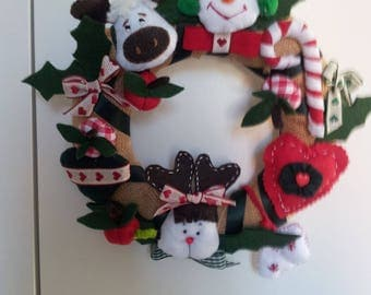 Christmas wreath with reindeer, hearts, etc