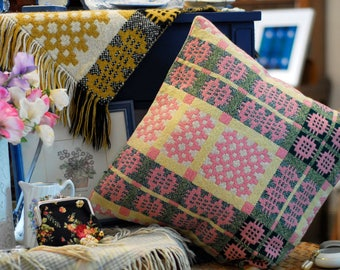 "Welsh Tapestry Cushion, 16x16"" handmade cushion, yellow and pink vintage welsh wool cushion, welsh blanket cushion, handmade in Wales"