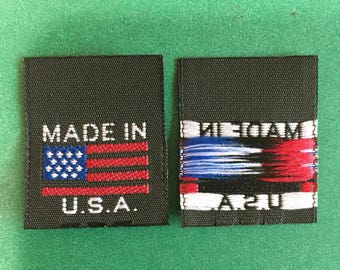 1,000 pcs  Made in U.S.A. with American Flag high quality woven label