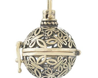x 1 pendentif cage de Bali Bola motif papillon pour bille d'Harmonie Bébé métal bronze 2,7 x 2,4 cm