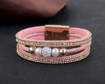 x 1 bracelet have magnetic metal gold 19.5 cm leather cuff rhinestone Crystal/Pearl clasp