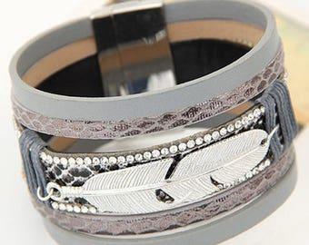 x 1 silver feather pattern grey MULTISTRAND leather bracelet / rhinestone 19.5 cm