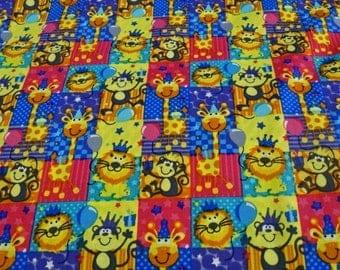 "Printed cotton fabric patterns ""animals, lions, monkeys, giraffes"