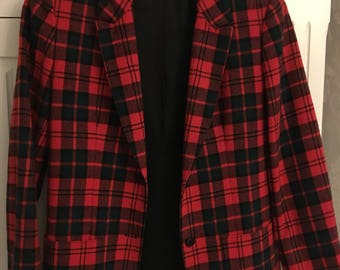 Pure wool vintage tartan jacket