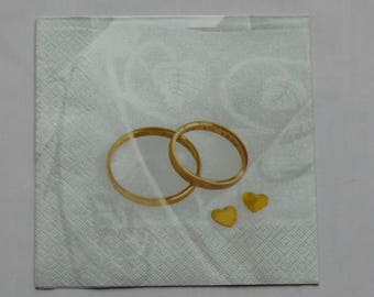 "napkin ""rings and hearts gold"""