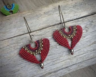 Macrame earrings, handcrafted earrings, glass seed beads, hematite beads