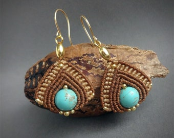 macrame earrings, 925 sterling silver 24K gold plated beads, 24K gold plated wire, turquoise beads