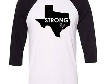 Houston Strong, Texas Strong, Custom Houston Texans Shirt, Texans Football Shirt, Houston Texans, Custom Shirt, Football, Baseball Raglan