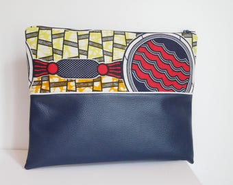 Wax and faux leather pouch