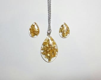 Gold Flake Lucite Jewlery Set